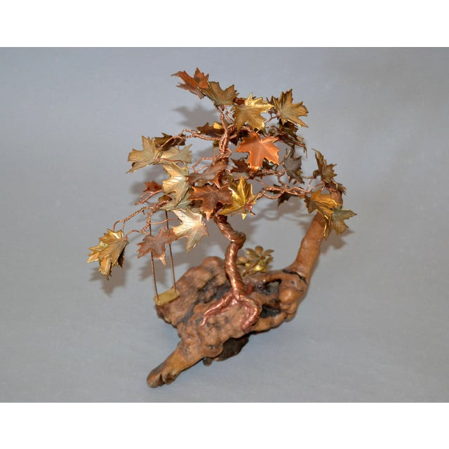 1970s Handcrafted Bonsai Tree Brass, Copper, Bronze Sculpture on Burl Wood Base For Sale - Image 5 of 13