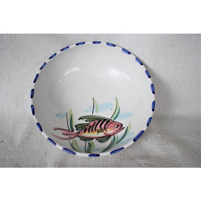 White Vietri Fish Decorated Bowl For Sale - Image 8 of 8
