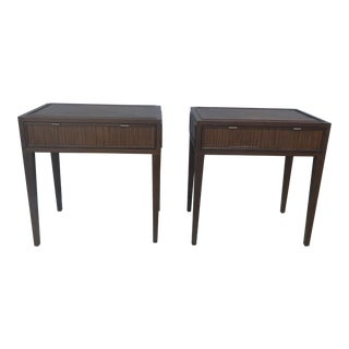McGuire Furniture Company Faubourg Line Tall Rattan & Wood Nightstands - a Pair For Sale
