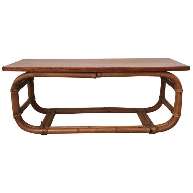 Vintage Koa Wood & Rattan Coffee Table - Image 1 of 11