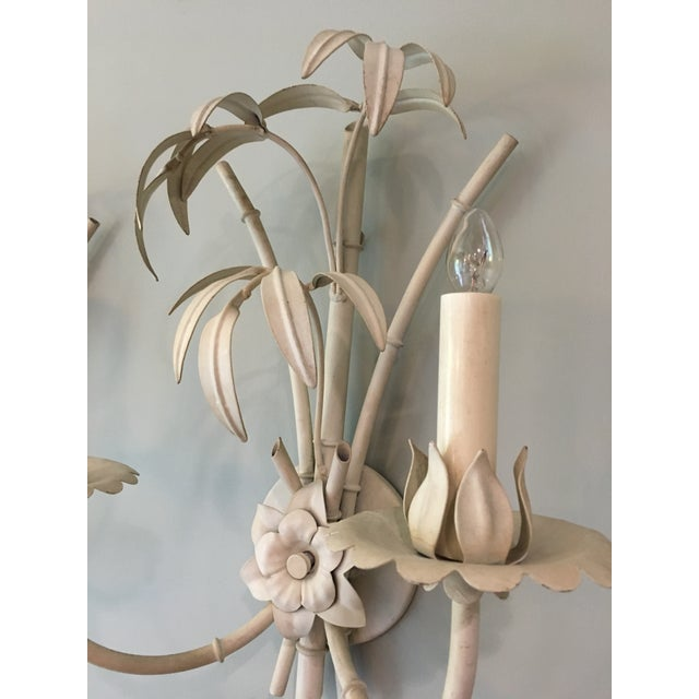 Bamboo 20th Century Art Nouveau Palm Beach Style Wall Sconces - a Pair For Sale - Image 7 of 12