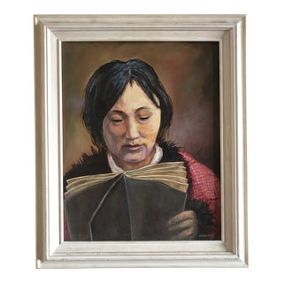 "Original Oil Painting ""Eskimo Study"" Signed Hurlburt For Sale"