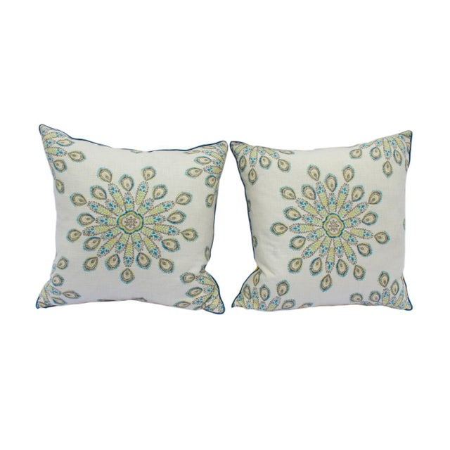 1960s Mid-Century Modern Printed Linen Down Pillows - a Pair For Sale - Image 13 of 13