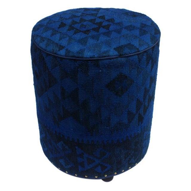 Black Arshs Deandre Blue/Drk. Blue Kilim Upholstered Handmade Ottoman For Sale - Image 8 of 8