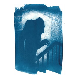 Limited Edition, Nosferatu Film Still Cyanotype, Shadow of Nosferatu on Watercolor Paper For Sale