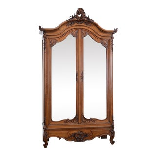 French Walnut Louis XV 2 Door Armoire For Sale