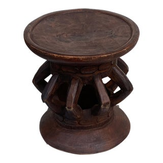 """Superb African Bassa Wood Stool/Table 18"""" H For Sale"""