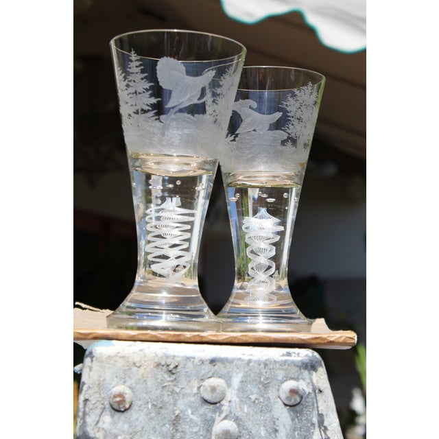 19th C. Etched Water Goblets- A Pair For Sale - Image 13 of 13