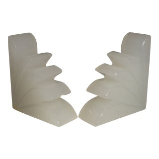Art Deco Cast Glass Fan Shape Bookends - a Pair For Sale