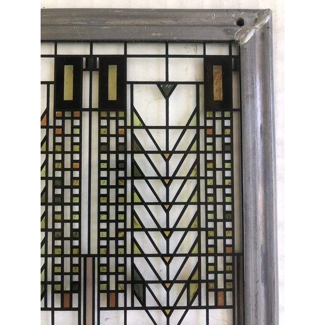 Frank Lloyd Wright Inspired Stained Glass Panel For Sale In Kansas City - Image 6 of 8