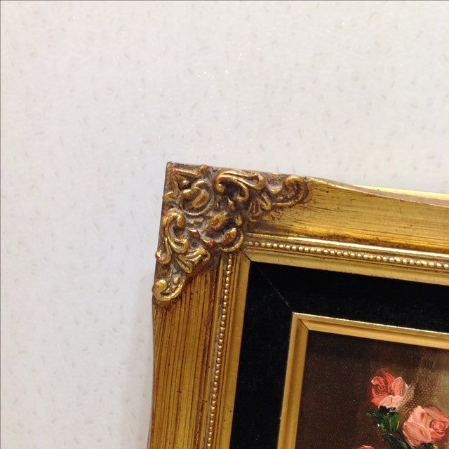 """""""Pink Roses"""" Vintage Still Life Oil Painting - Image 6 of 7"""