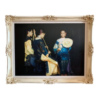 "Vintage 1991 Artist Recreation of Chen Yeifei's Painting ""Lingering Melodies From the Xunyang River"" For Sale"