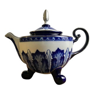 Vintage Chinese Blue and White Footed Bombay Teapot For Sale