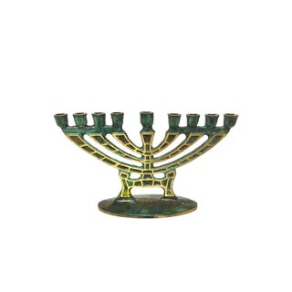 Green & Gold Brass 9 Arm Menorah For Sale