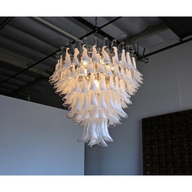 "White Mazzega Large Scale Murano "" Selle "" Glass Chandelier Circa 1988 For Sale - Image 8 of 13"