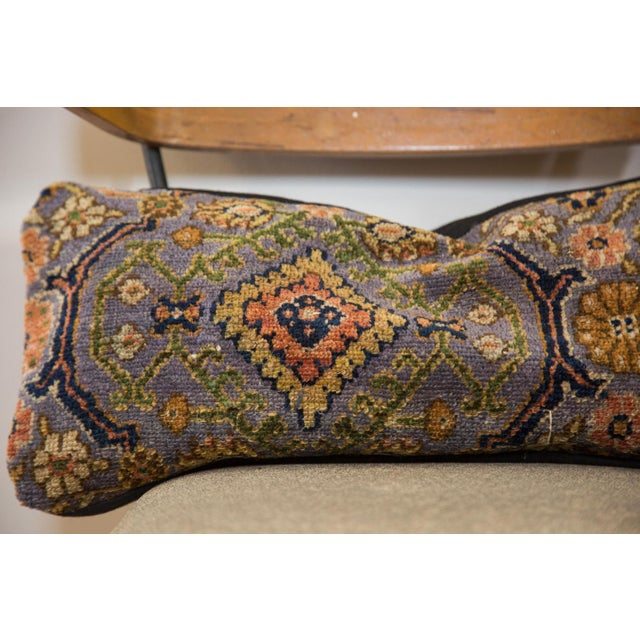 Old New House Purple Bibikabad Rug Fragment Lumbar Pillow For Sale - Image 4 of 5