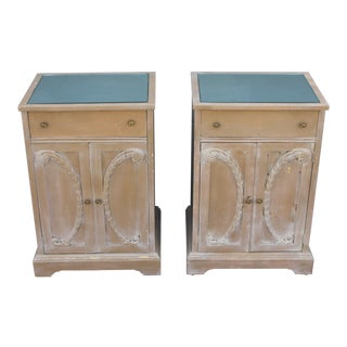 1930s Hollywood Regency Plume Carved Mirrored Top Nightstands - a Pair