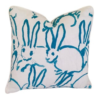 Lee Jofa Groundworks Bunny Hutch Print Turquoise Pillow Cover For Sale