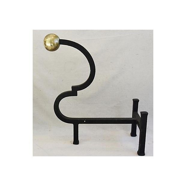 Vintage Monumental Pair Heavy Iron & Brass Fireplace Andirons For Sale In Los Angeles - Image 6 of 11