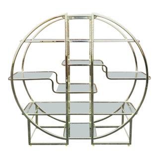 Milo Baughman Style Brass Circle Etagere For Sale