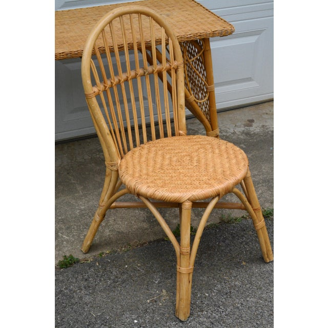 1950s Wicker Rattan Desk and Chair - a Set For Sale - Image 6 of 12