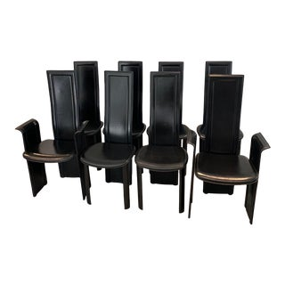 1980s Vintage Italian Highback Dining Chairs in Leather - Set of 8 For Sale