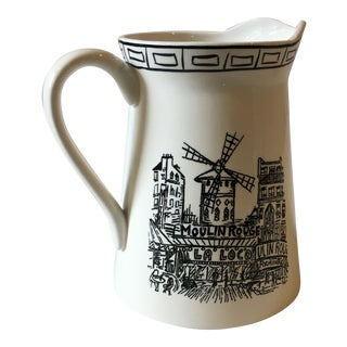 1990s Art Nouveau Susan Steinberg for Mikasa Parisian Scene Ceramic Pitcher For Sale