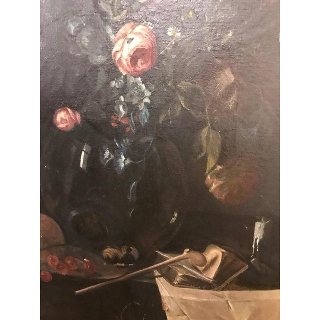 19th Century Oil on Canvas Still Life Signed with Label in an Ebony & Gilt Frame For Sale - Image 4 of 10