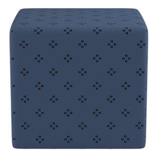 Cube Ottoman in Azul Faro For Sale