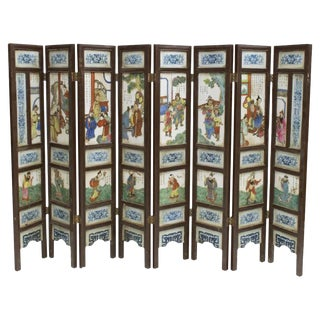 Antique Chinese Porcelain 8 Panel Screen For Sale