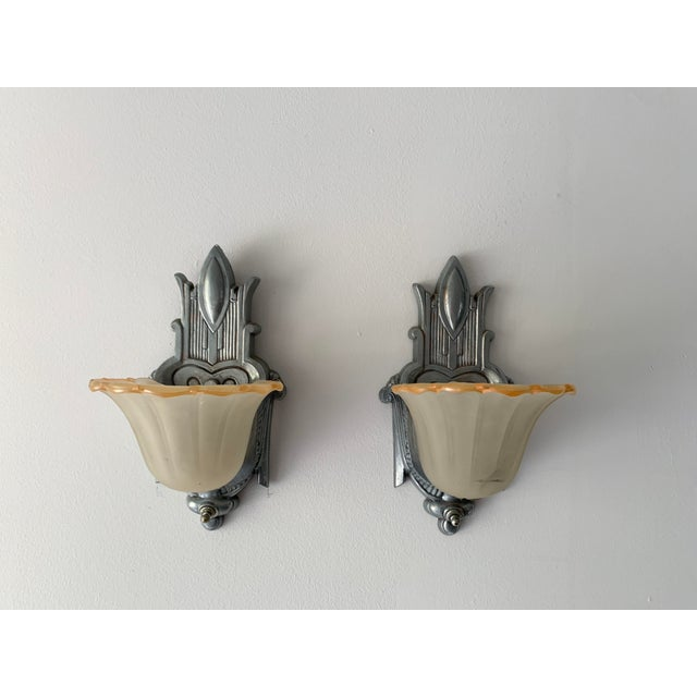 Antique Art Deco Sconces With Glass Shades - a Pair For Sale - Image 13 of 13