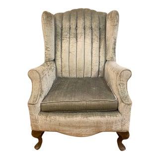 Vintage Green Velvet Wingback Chair For Sale