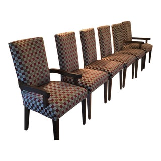 1970s Vintage Checkered Chairs- Set of 6 For Sale