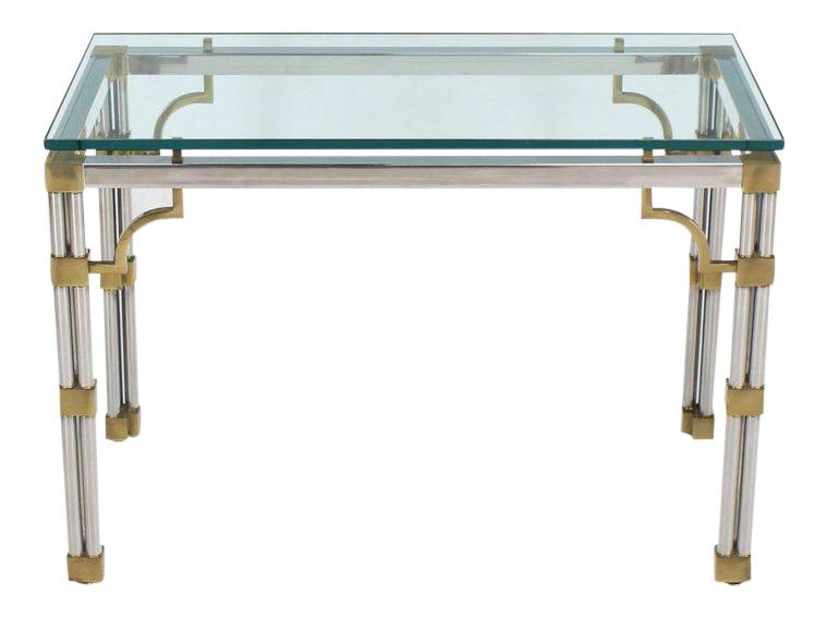 World Class Chrome Glass And Brass Heavy Console Sofa Table Decaso