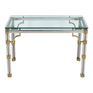 Chrome Glass and Brass Heavy Console Sofa Table For Sale