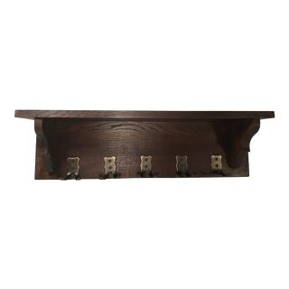 Vintage Wall Pot Shelf With Hooks For Sale