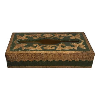 Vintage Green and Gold Florentine Tissue Box Cover For Sale