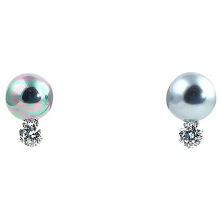 Costume Grey Pearl and Cz Sterling Silver Clip-On Earrings For Sale