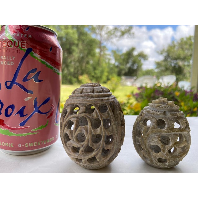 Vintage Stone Hand-Carved Eggs- a Pair For Sale In Orlando - Image 6 of 12