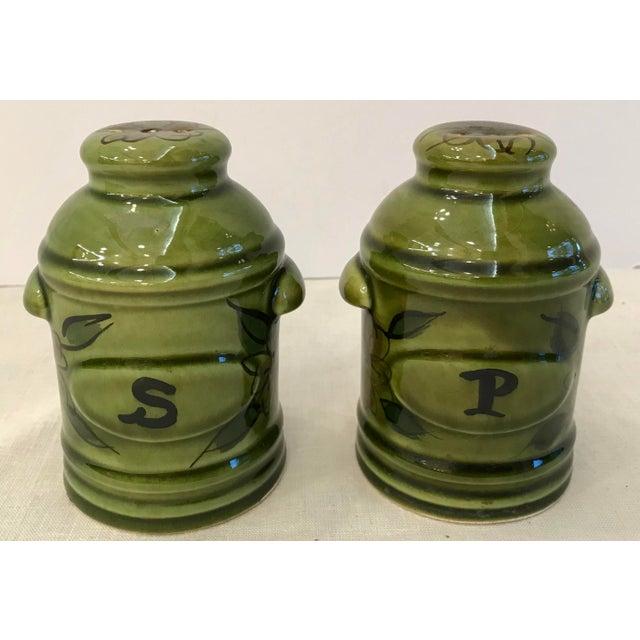 Green Vintage Green California Pottery Salt & Pepper Set For Sale - Image 8 of 8