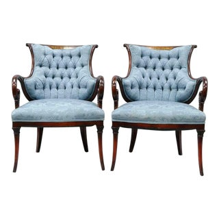 Vintage Mid Century Grosfeld House Inlay Hollywood Regency Arm Chairs- A Pair For Sale