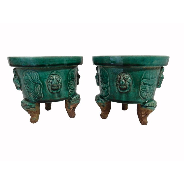 Asian Celadon Ceramic Incense Burners- A Pair - Image 6 of 6