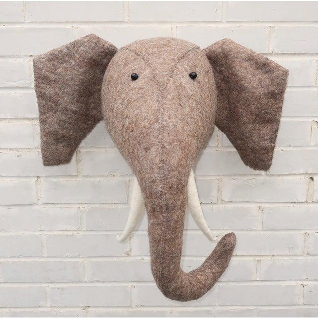 Whimsical Large Wall Mount Felt Elephant Head For Sale - Image 12 of 12