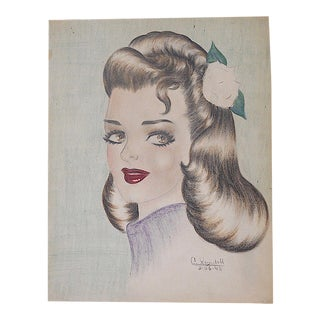 Original Signed/Dated Mid Century Drawing-Pin-Up Portrait For Sale