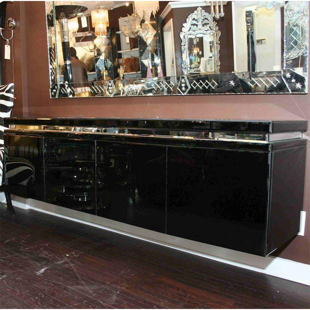 Custom Black Mirrored Cantalever Credenza For Sale In New York - Image 6 of 6