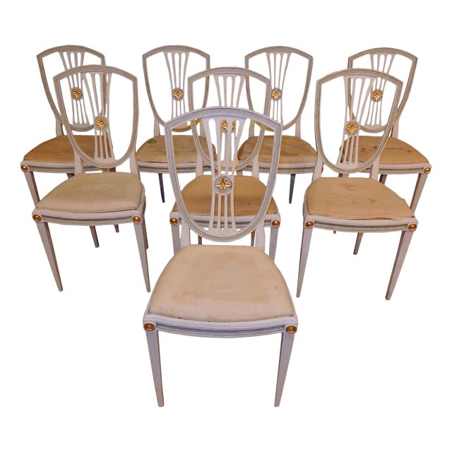 Late 19th C Painted Swedish Dining Chairs - Set of 8 For Sale