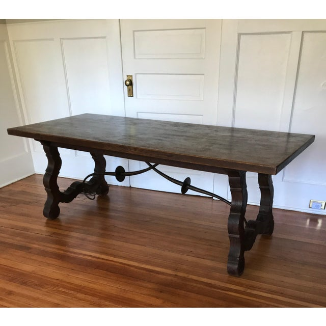 Brown 19th Century Spanish Trestle Farm Table For Sale - Image 8 of 8