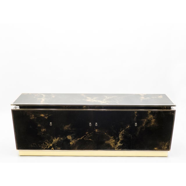 Black Rare Golden Lacquer and Brass Maison Jansen Sideboard 1970s For Sale - Image 8 of 13