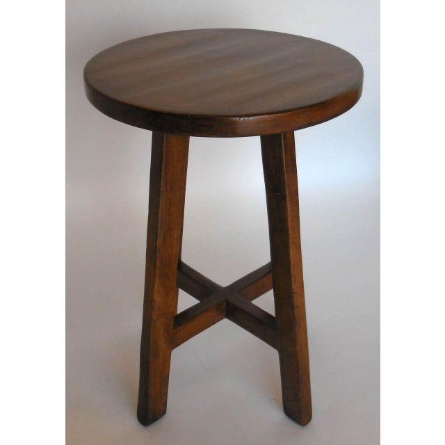 Custom Round Walnut Wood Side or End Table For Sale - Image 4 of 6