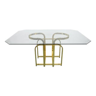 1970s Hollywood Regency Brass Pedestal and Glass Dining Table For Sale